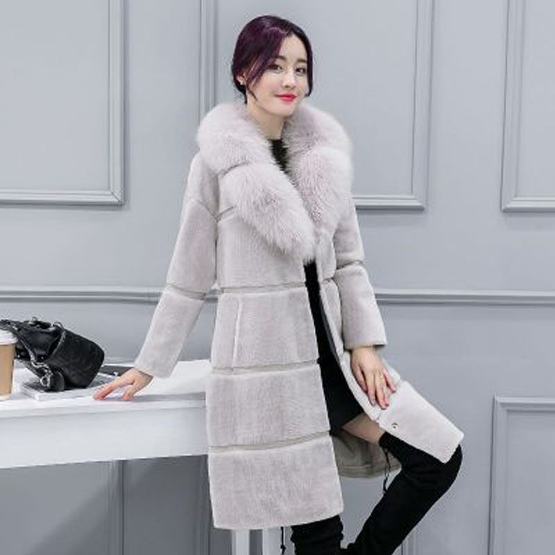 Women leather jacket 2018 autumn and winter Korean women's new coat in the long section of the imitation fox fur collar fur coat