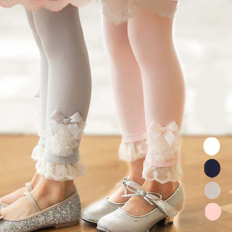 2-8Y девочки брюки хлопок леггинсы цветочный девочки кружево леггинсы с жемчуг украшение малыша девочки осень одежда