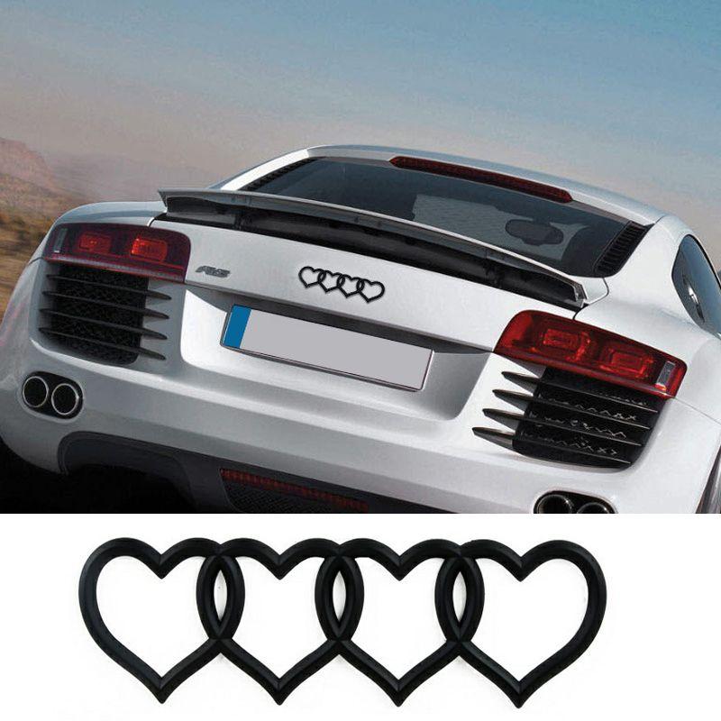 Car Modified Love Logo Rear Trunk Emblem Tail Badge Replacement Decal Sticker for Audi A3 A4 A6L A8 Q3 Q5 Q7 TT S5 S3 ALL MODELS
