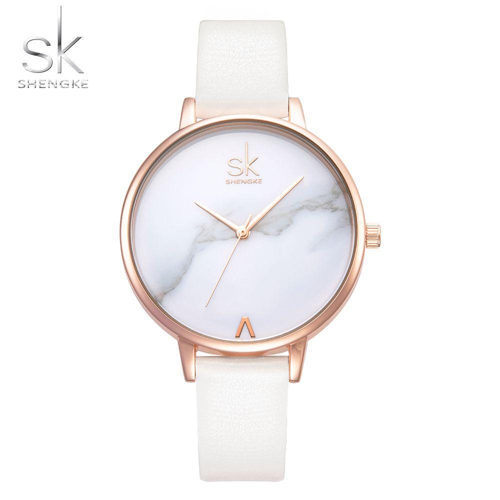 Shengke Top Brand Señoras de La Manera Relojes de Cuero Correa de reloj de Mujer Reloj de Cuarzo Reloj de la Mujer Delgada Ocasional Femenina De Mármol Dial SK