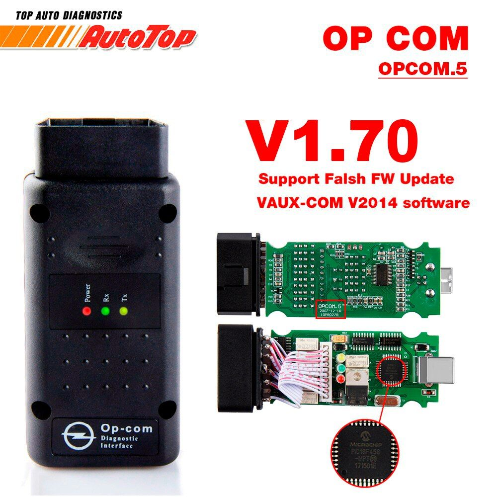 2018 OP COM for Opel V1.70 OBD2 OP-COM Car Diagnostic Scanner Real PIC18f458 OPCOM for Opel Car Diagnostic Tool Flash Firmware