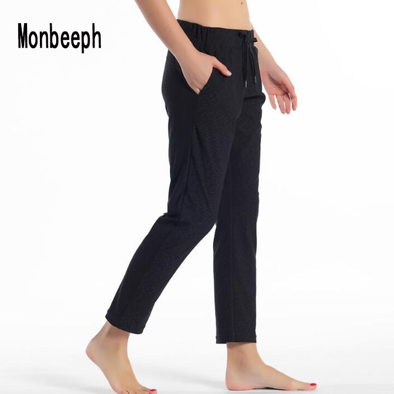 Monbeeph Women Leggings Stretch fabrics Drawstring Harlan pants Ankle-Length Pants black navy