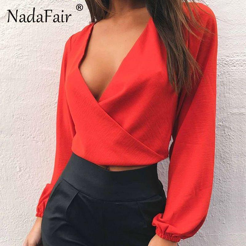 Nadafair Full Sleeve V <font><b>Neck</b></font> Backless Bow Short Chiffon Blouse Women Sexy Club Party Shirts