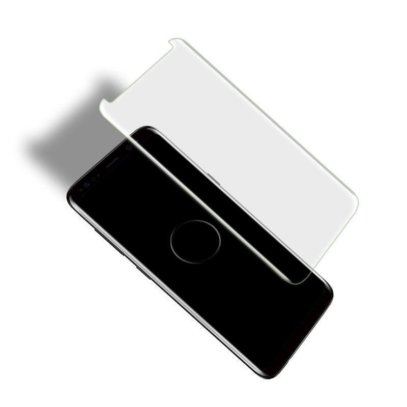 Für Galaxy S8 Displayschutz Gehärtetem Glas Flüssigkeit Dispersion Tech 3D Gebogene Volle Abdeckung Easy Install Kit und UV-Licht