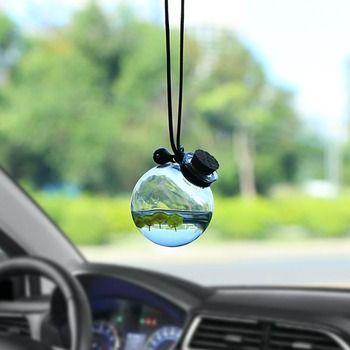 Автомобильный кулон стеклянный парфюм пустая подвесная бутылка с цветком Авто интерьерное украшение парфюмерный контейнер с деревянной к...