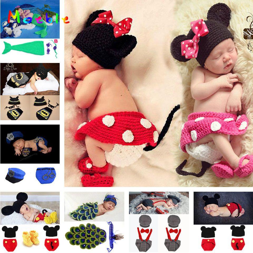 Mickey Design bébé fille Crochet Photo accessoires tricoté bébé chapeau jupe pantalon chaussures ensemble nouveau-né photographie Costume 1 ensemble MZS-14109