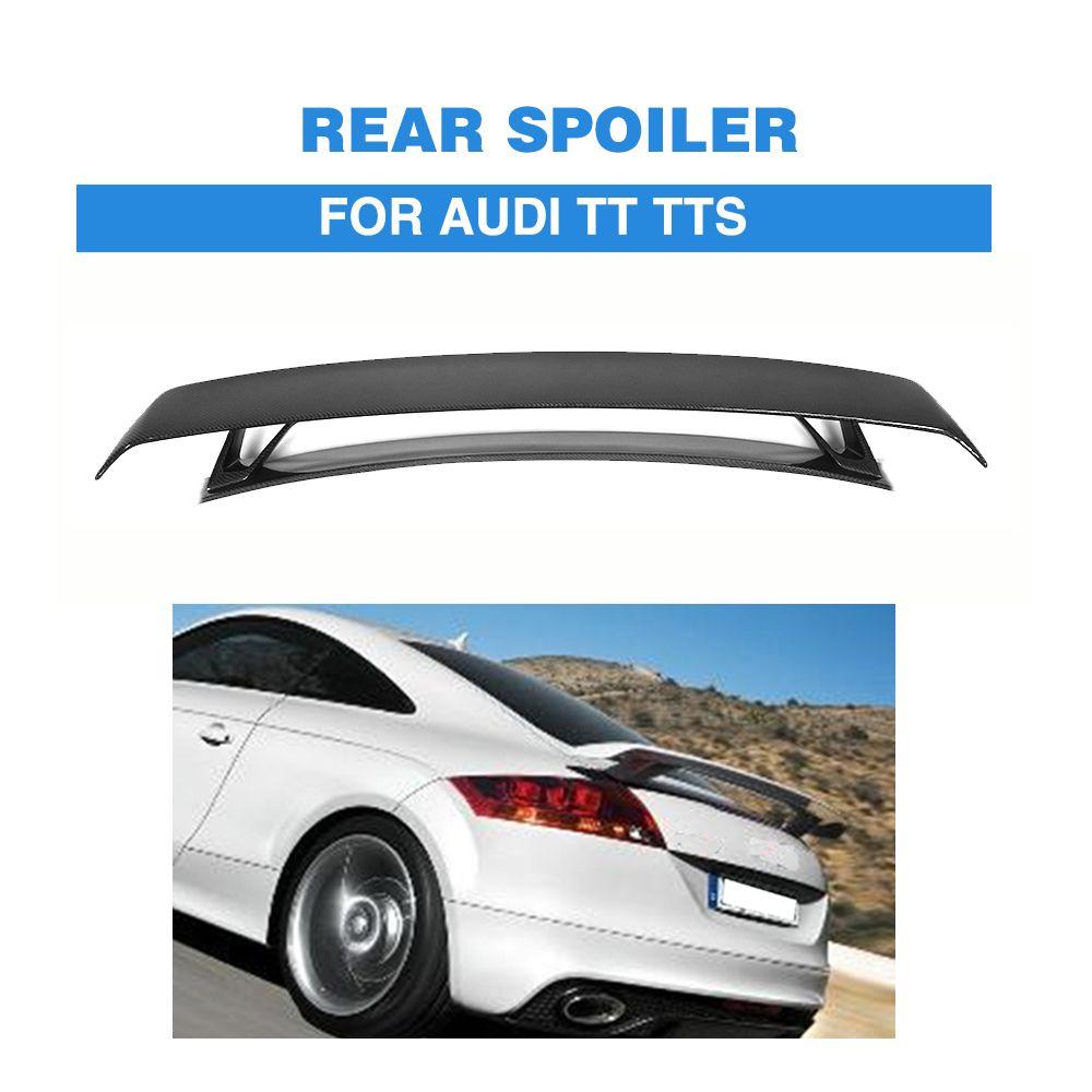Carbon Fiber / FRP Black Rear Trunk Boot Double-Deck Spoiler Wing For Audi TT MK2 8J TTS Coupe 2 Door 2008-2014 Car Styling