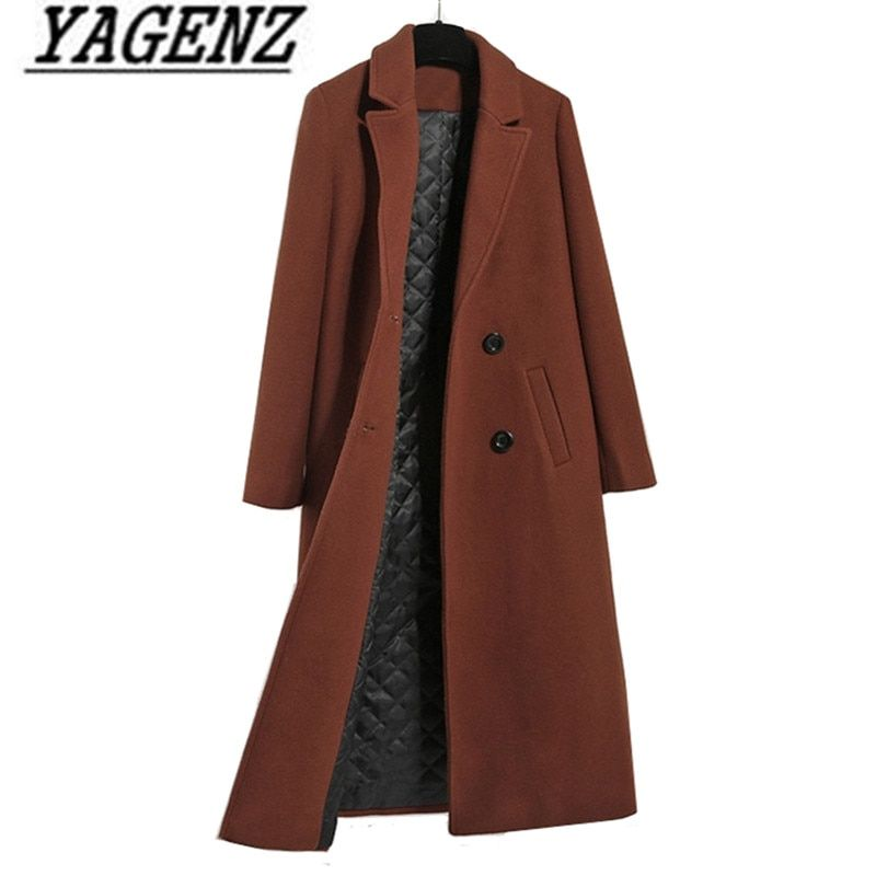Caramel color Women's Wool Jacket Coats 2018 Fashion Casual Slim Thicken Warm Long Outerwear coat Autumn/winter Wool Lady Coats