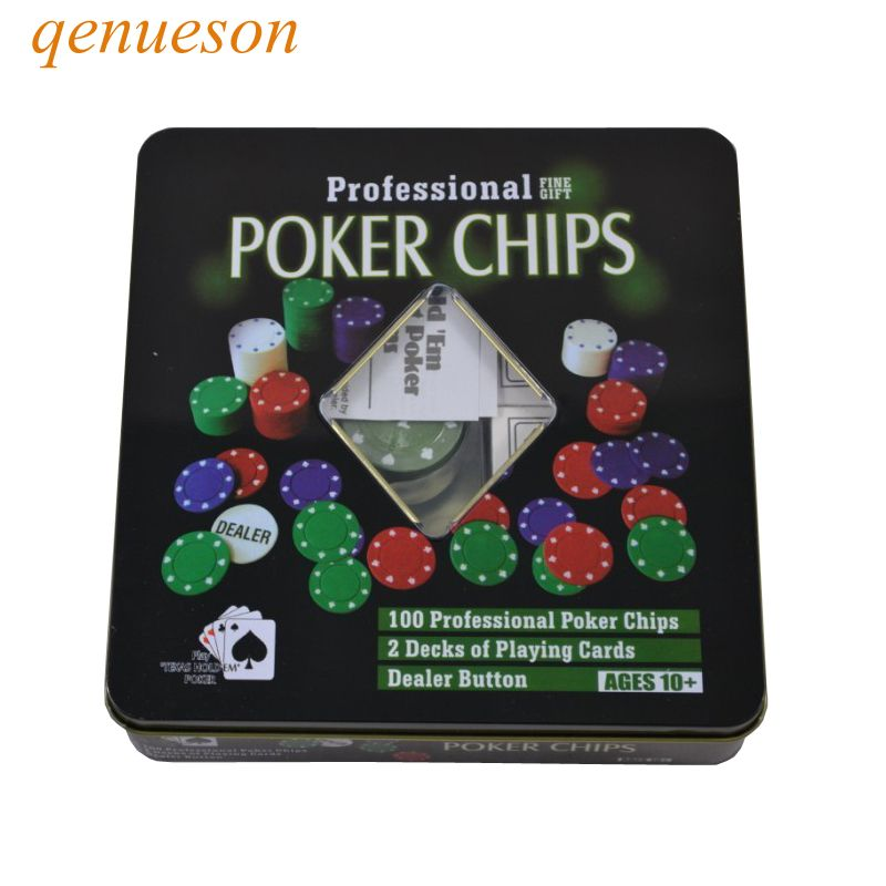 New High quality Casino chips Texas Poker chips 100 chips game tokens square box plastic poker chips 1/5/10/25 four par qenueson