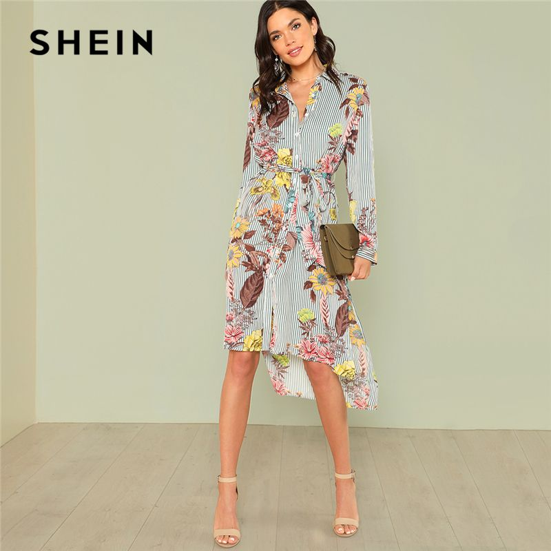 SHEIN Slit Side Mixed Print Dip Hem Shirt Dress 2018 Summer Long Sleeve Stand Collar Belted Dress Women Casual Elegant Dress