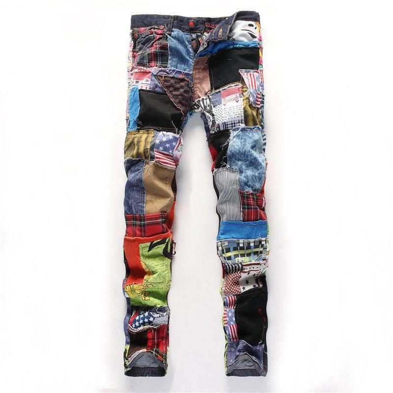 Bunte Jeans Männer Denim Hose Patch Jeans Slim Fit Fashion Designer Jeans Mode Zeigen Jeans Denim Männer