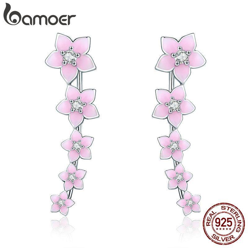 BAMOER 100% 925 Sterling Silver Cherry Flower Pink Enamel Cuff Drop Earrings for Women Fashion Silver Earrings Jewelry SCE256