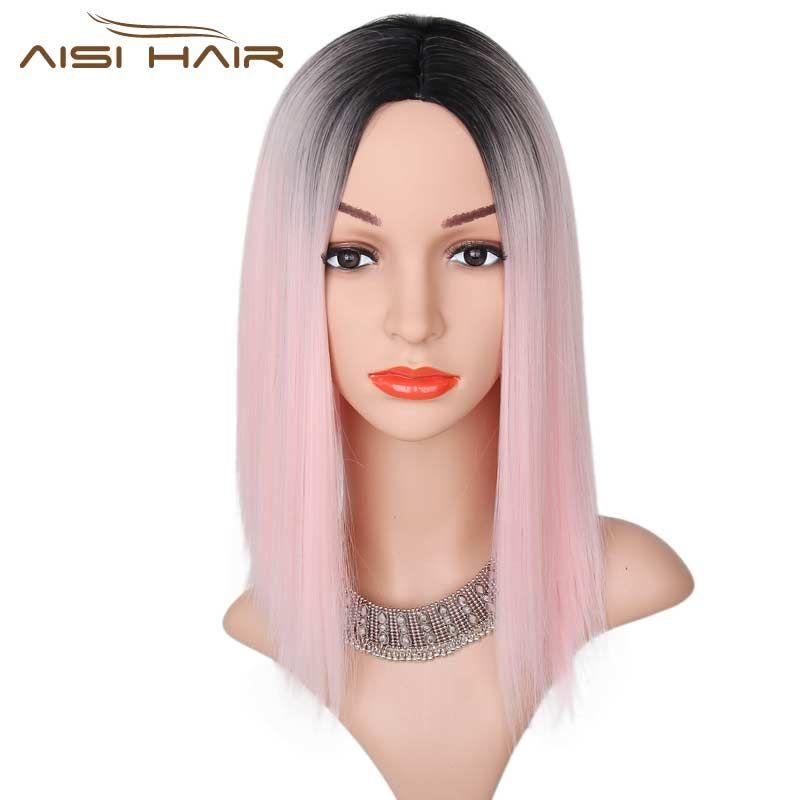Я в черный парик Ombre розовый парик прямой Искусственные парики короткие черные волосы для Для женщин высокой температуры Волокно