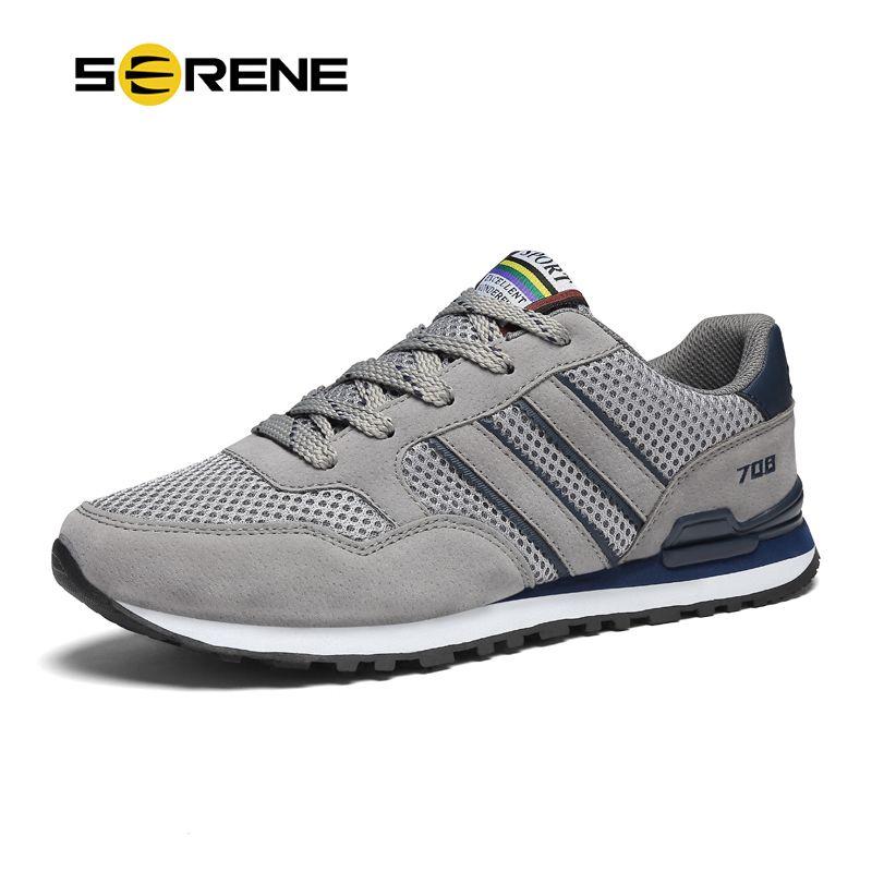 SERENE Brand Men Casual Shoes big size 37-44 Gray Blue Color Soft Mesh Light <font><b>weight</b></font> Anti-Slip High Quality Men Sneaker Shoes