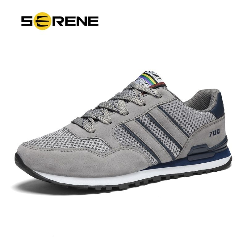 SERENE Brand Men Casual Shoes big size 37-44 Gray Blue Color Soft Mesh Light weight Anti-Slip High Quality Men Sneaker Shoes