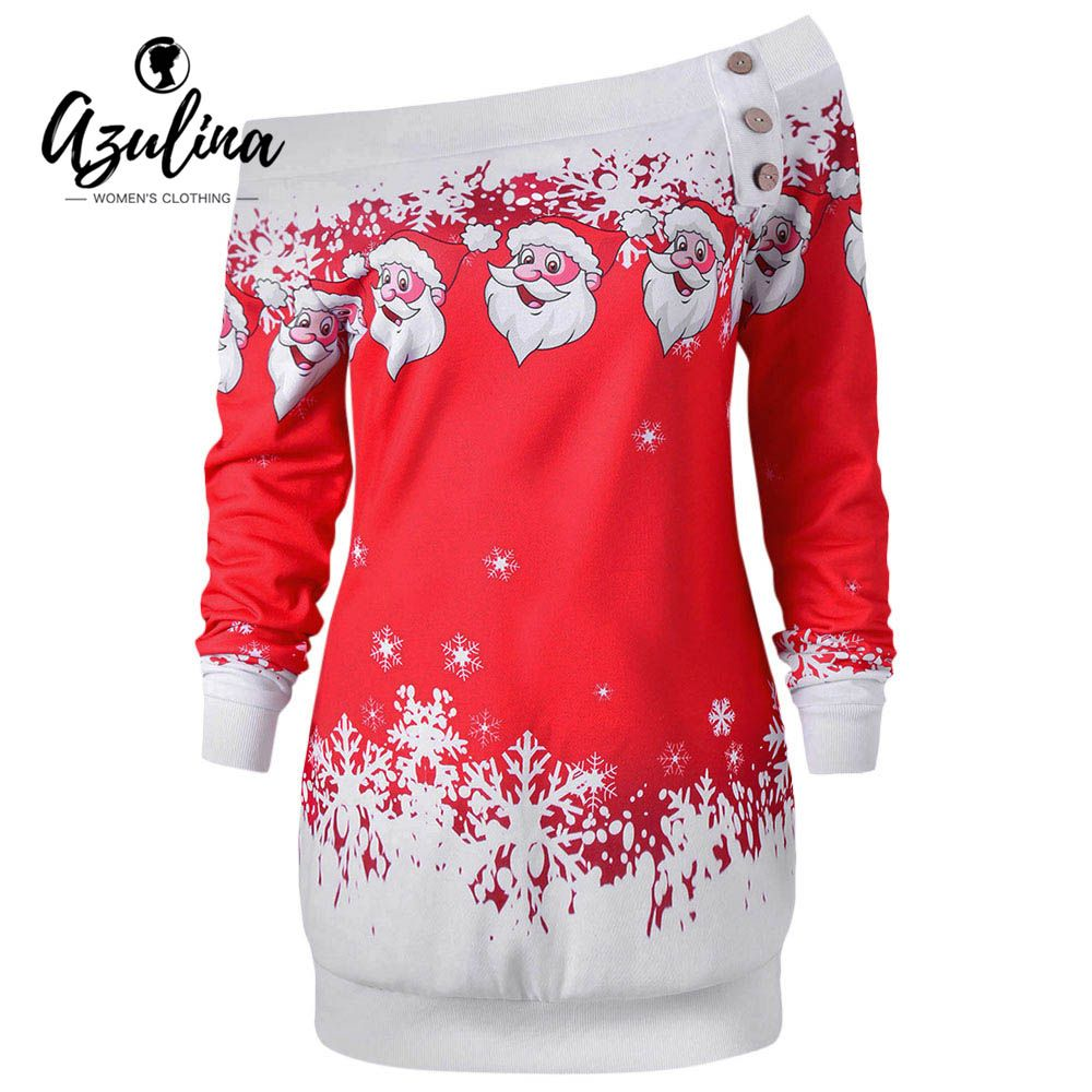 Azulina повседневные Футболки для женщин Санта Клаус Снежинка перекос Средства ухода за кожей шеи пуловер Рождество футболка джемпер верхняя ...