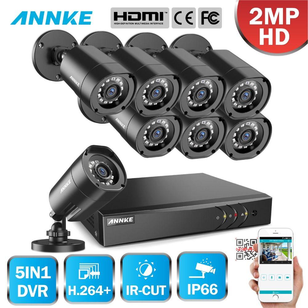 ANNKE 1080 p H.264 + 8CH CCTV Kamera DVR System 8 stücke IP66 Wasserdichte 2.0MP Kugel Kameras Home Video Security CCTV Kit