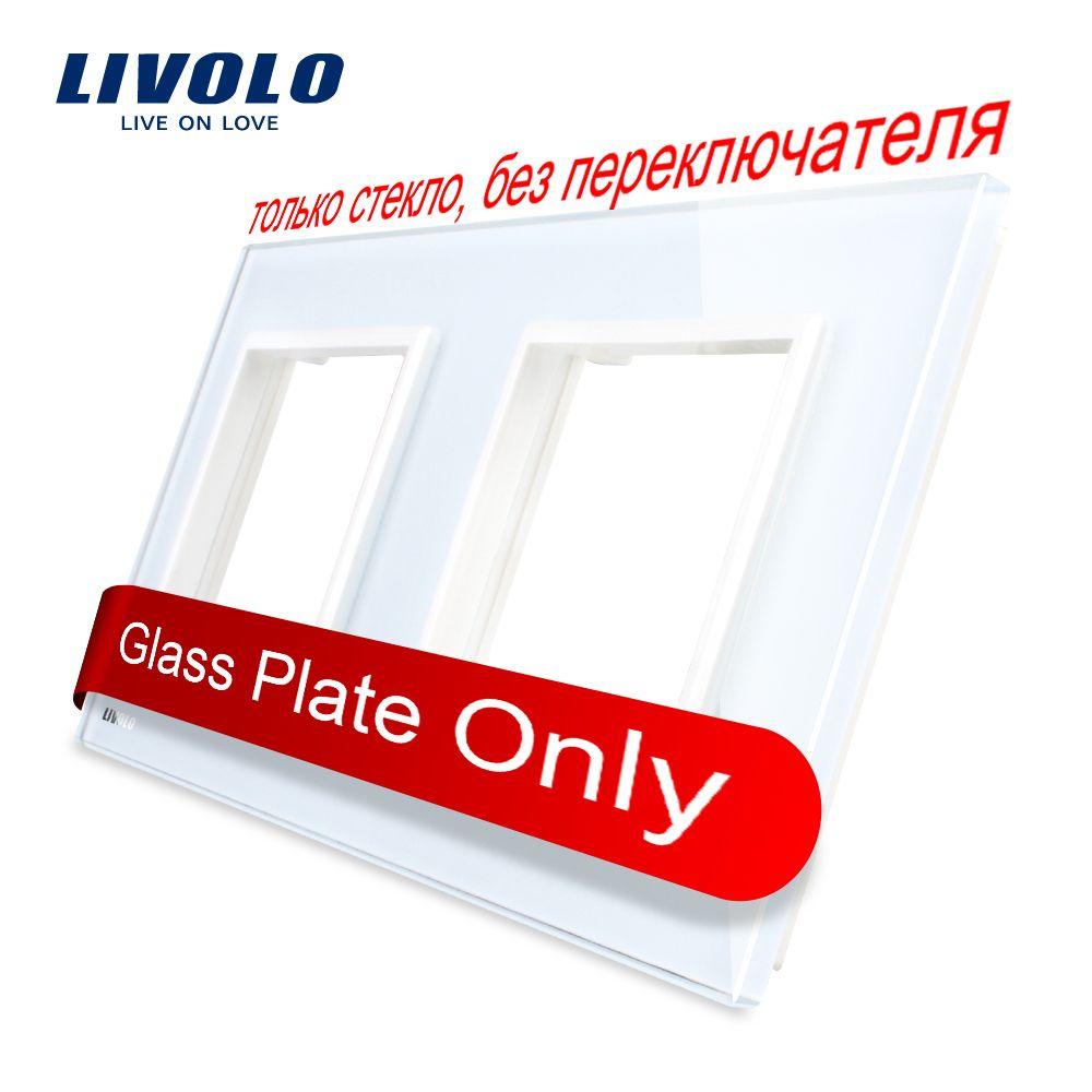 Livolo luxe blanc perle cristal verre, norme EU, Double panneau de verre pour interrupteur mural et prise, C7-2SR-11 (4 couleurs)
