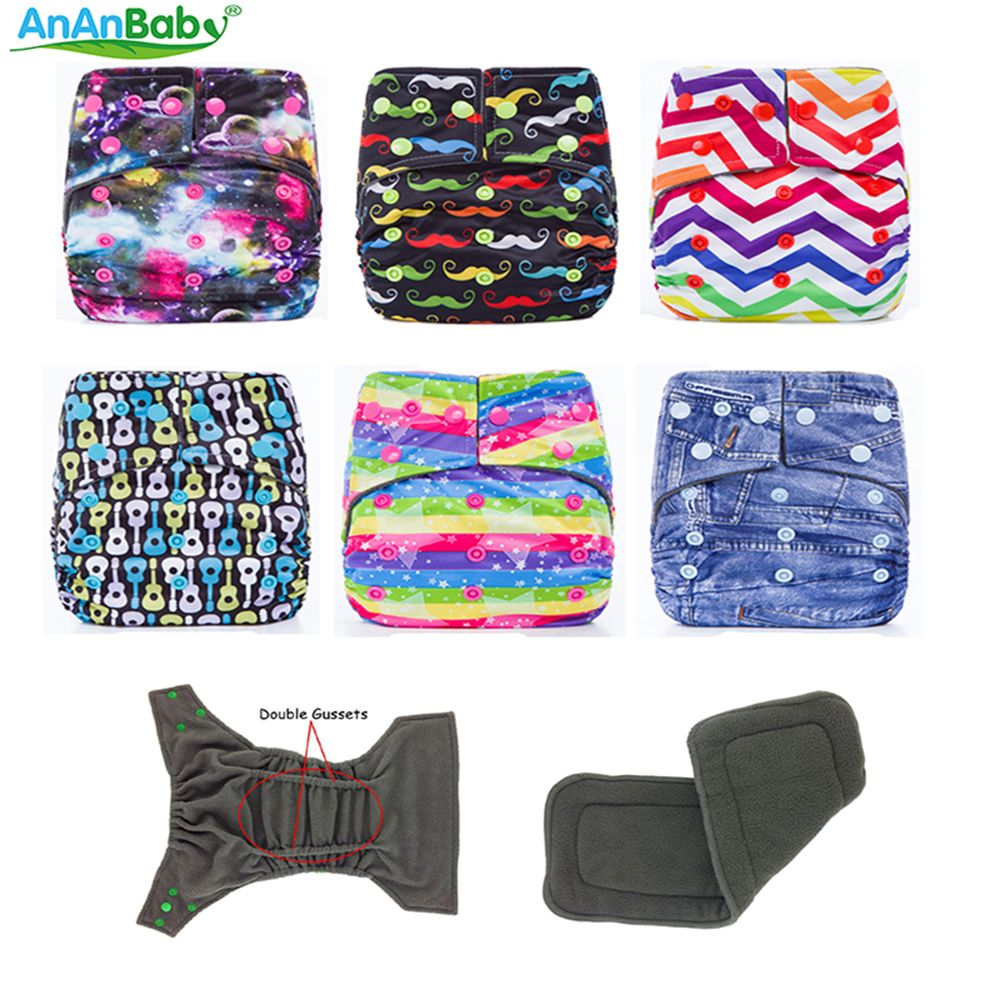 Free Shipping AnAnBaby Reusable Printed Double Gussets Bamboo Charcoal Diapers Cartoon With 4 Layers Bamboo Charcoal Inserts