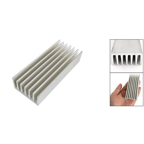 New 98 x 40 x 20mm Silver Tone Aluminium Heat Diffusion Cooling Fin