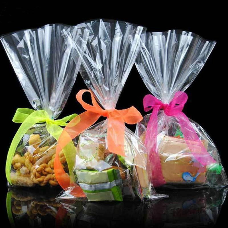 100 pcs/pack Transparent Adhésif Sac Cookies DIY Cadeau Sac Pour Wedding Party De Noël De Sucrerie Sac D'emballage Alimentaire MS072