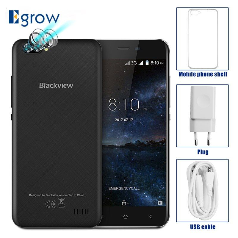 Original Blackview A7 Dual Rear Cameras MT6580A Quad Core Android 7.0 Mobile Phone 5.0