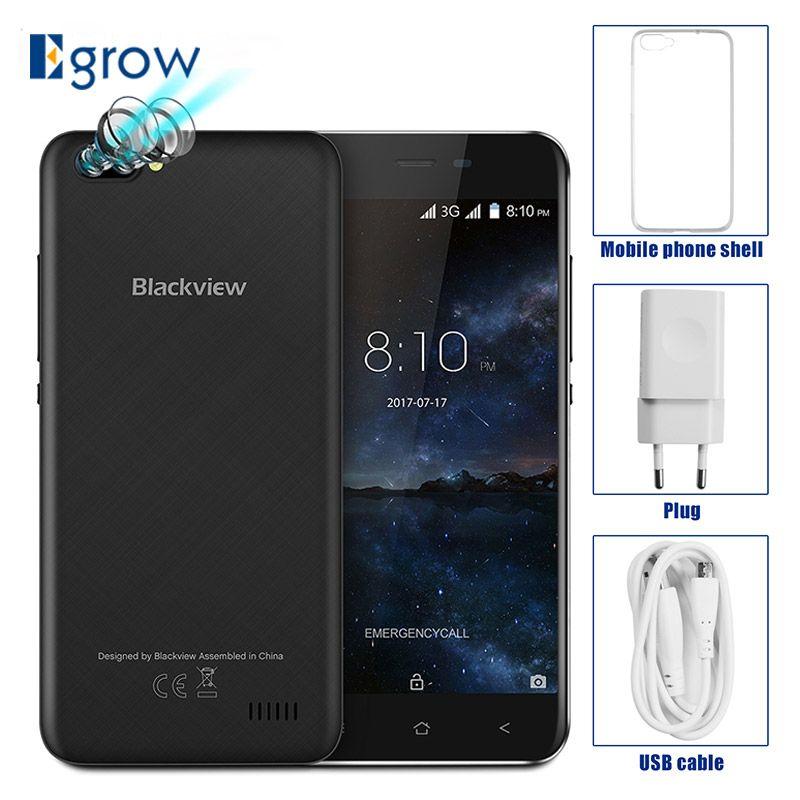 Original Blackview A7 Dual Rear Cameras MT6580A Quad Core Android 7.0 Mobile Phone 5.0