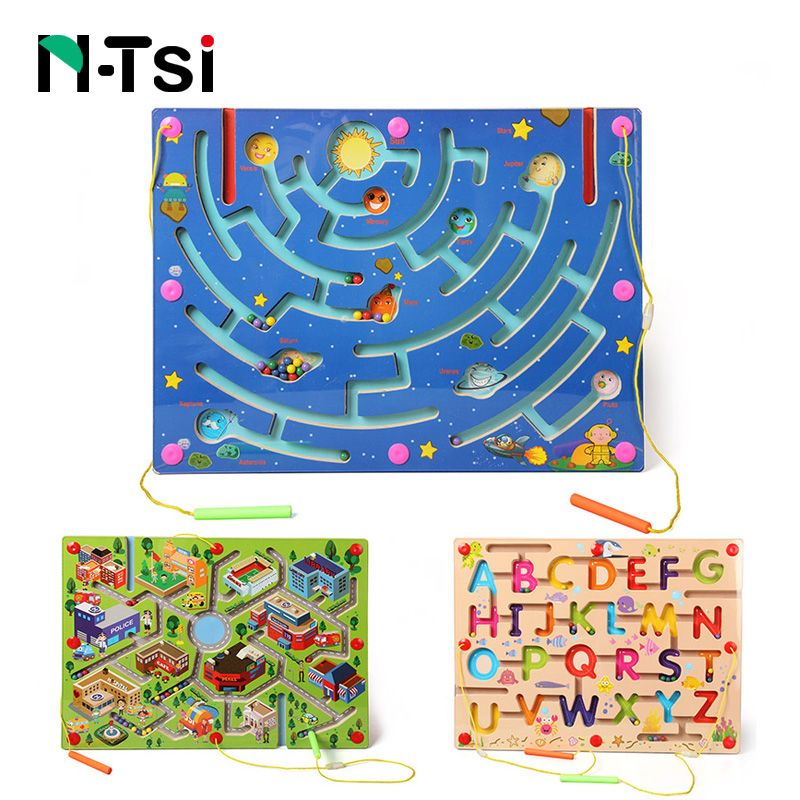 N-Tsi Wooden Maze Magnetic Game Puzzle Toys for Children Kids Educational Toy Gift