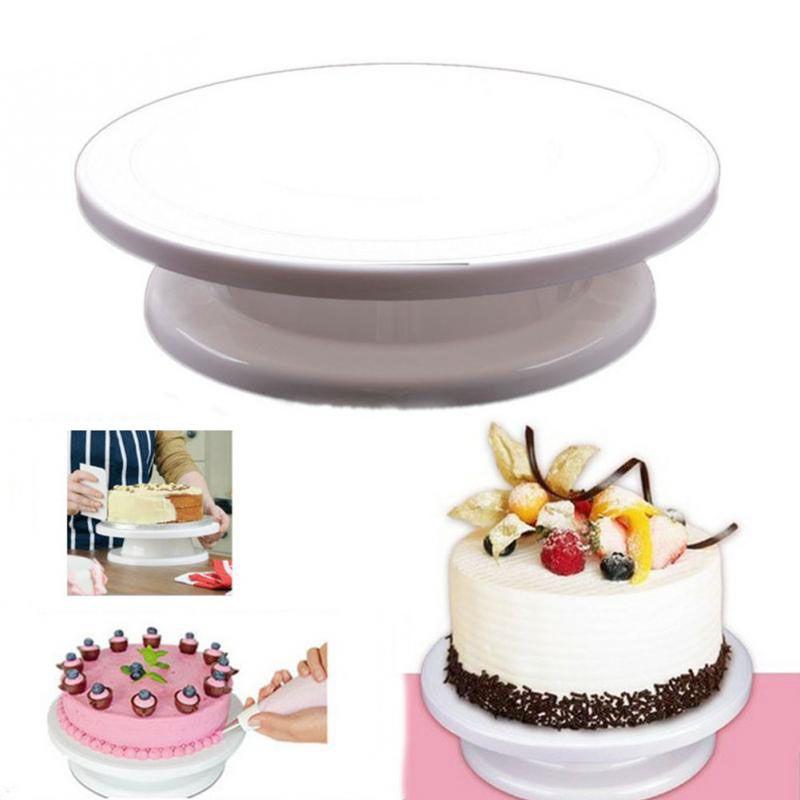 Hot Kitchen Cake Plate Revolving Decoration Stand Platform Turntable Round Rotating Cake Swivel Christmas Baking <font><b>Rotary</b></font> Tools