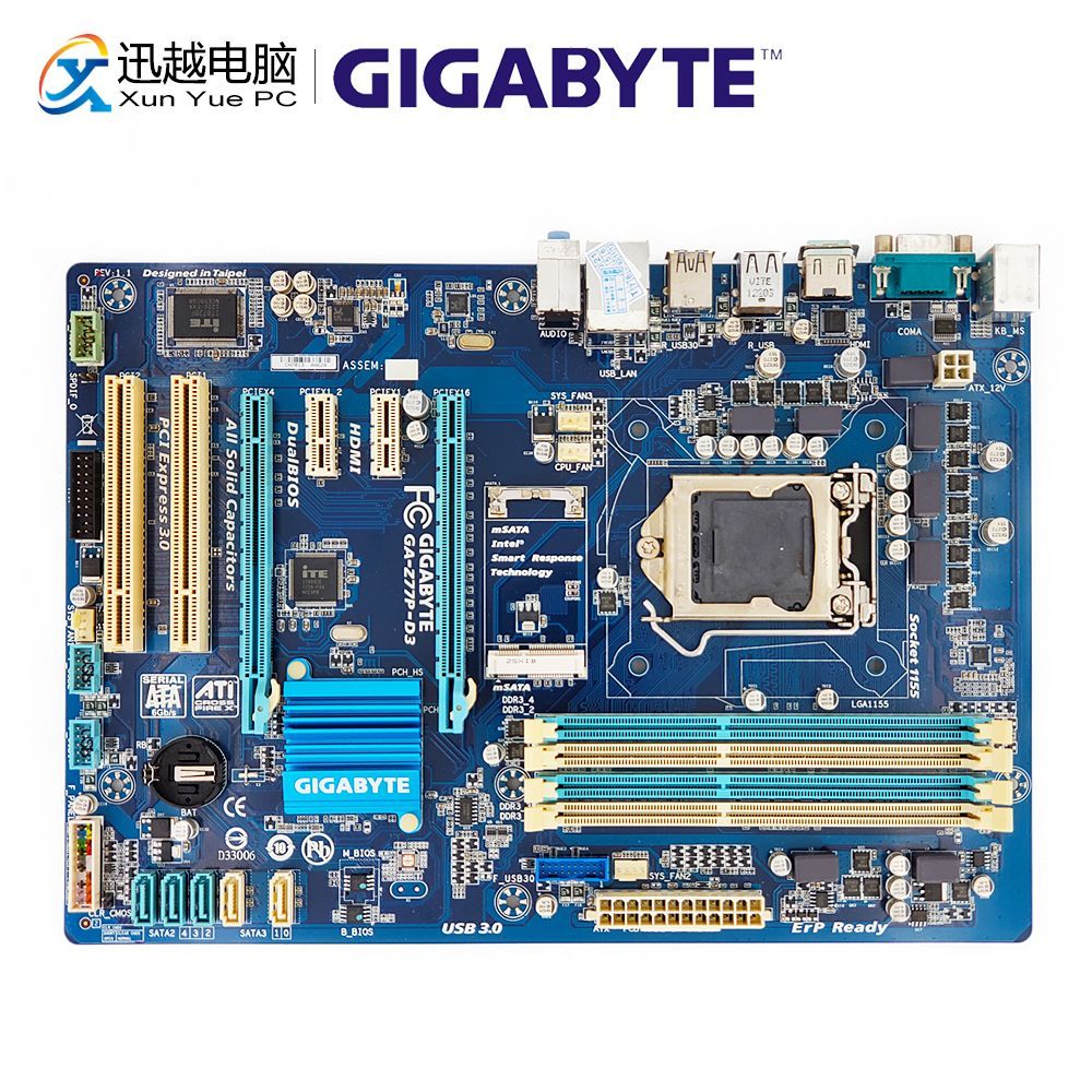 Gigabyte GA-Z77P-D3 Desktop Motherboard Z77P-D3 Z77 Socket LGA 1155 i3 i5 i7 DDR3 32G SATA3 USB3.0 HDMI ATX