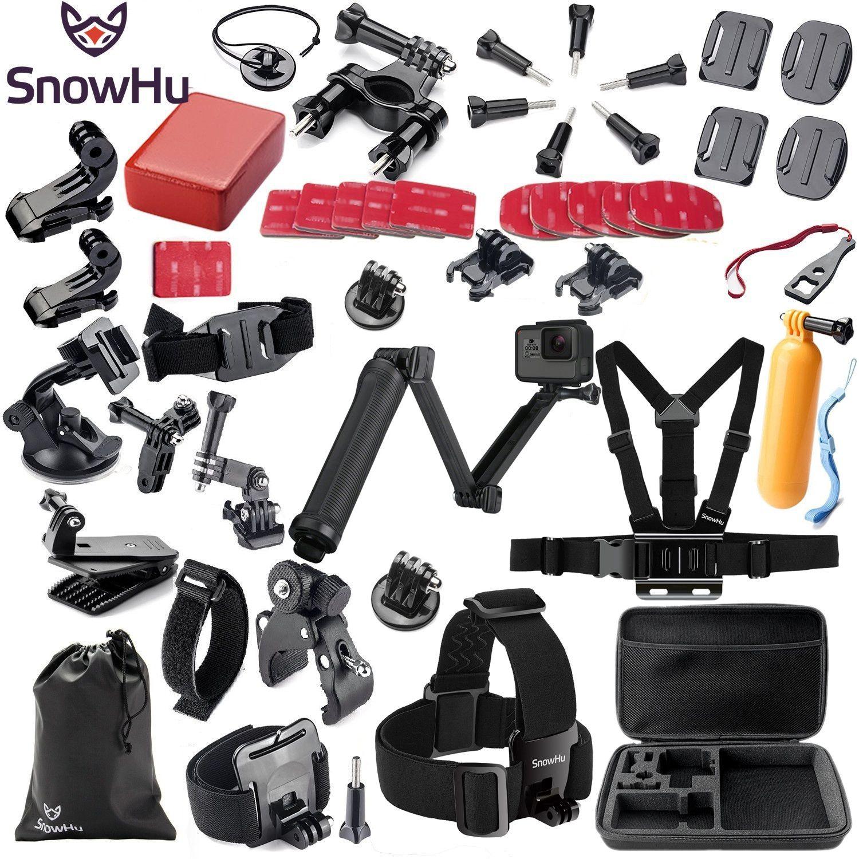 SnowHu pour accessoires gopro set pour go pro hero 7 6 5 4 3 kit 3 façon selfie bâton pour Eken h8r /pour xiaomi pour yi EVA GS02