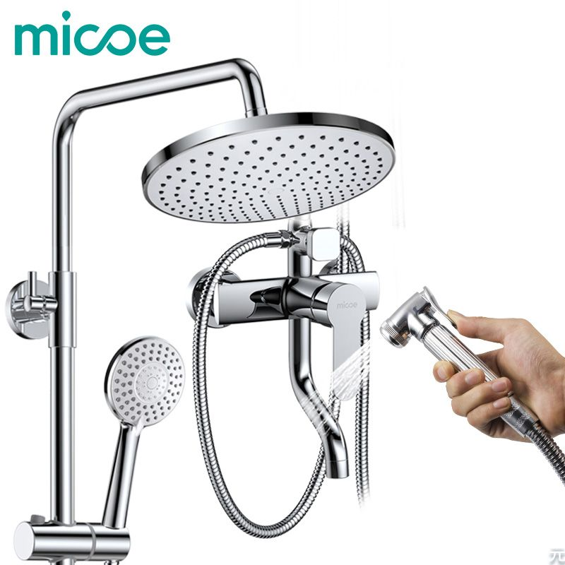 Micoe 2018 Real Ceramic Robinet Shower Panel Bathroom Shower Faucet Set Women's Nozzle Wall-mounted Hot And Cold Water Mixing