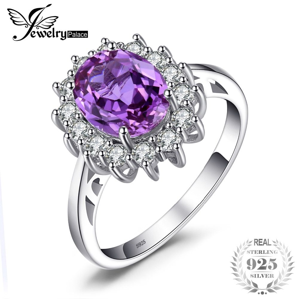 JewelryPalace 2.4ct Oval Alexandrite Sapphire Ring Genuine 925 Sterling Silver <font><b>Jewelry</b></font> For Women Princess Diana Engagement Rings