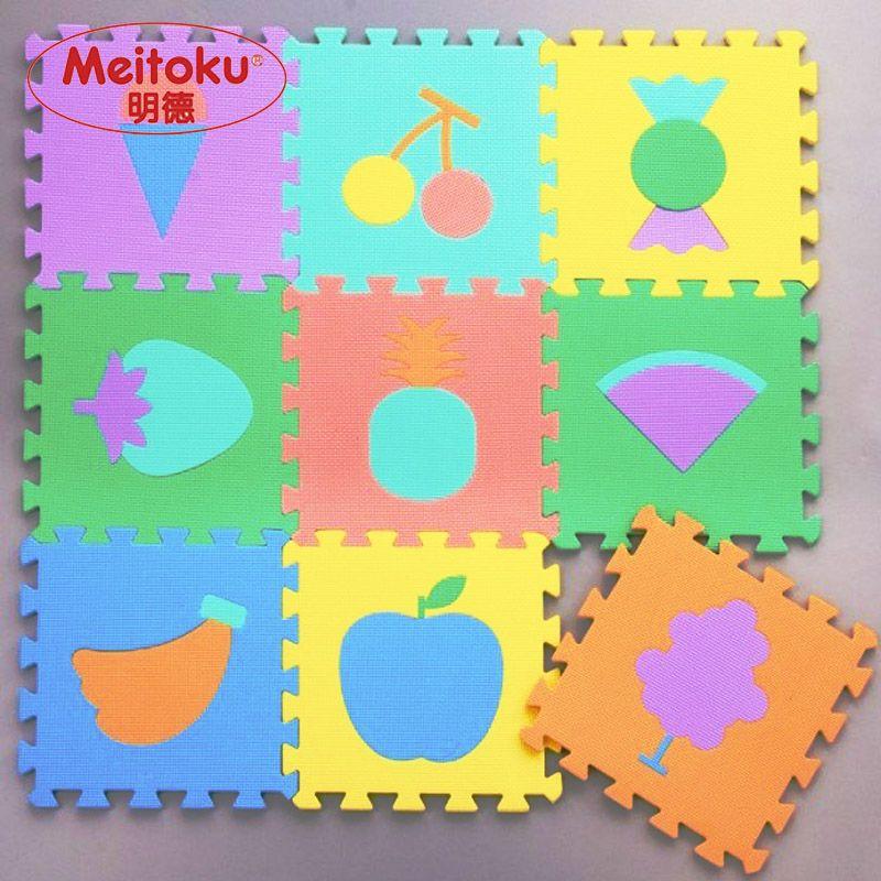 Meitoku bébé EVA de jeu en mousse Puzzle mat/Fruits de Verrouillage tapis de sol, chaque 32 cm X 32 cm = 12