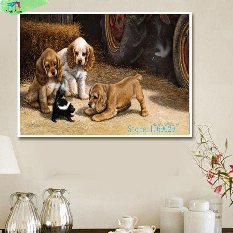 40*50 cm peint à la main bricolage peinture à l'huile sur toile par numéros cuadros decoracion mur art photos pour salon heureux chiens WQ004