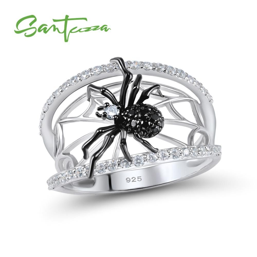 SANTUZZA Silver Spider Ring For Women 925 Sterling Silver Unique Rings Natural Black Stone Ring Trendy Party Fashionable Jewelry