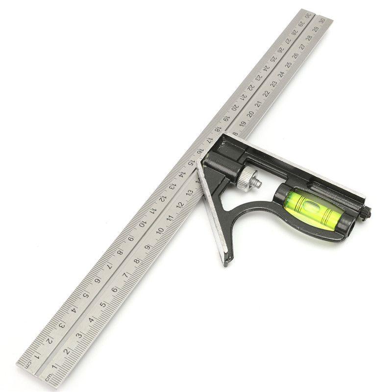Precise Stainless Steel Measuring Tools Aluminium Combination Square Diy Workshop Hardware Angle Spirit Level 12