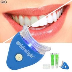 QIC Dental Teeth Whiten With Battey White LED Light Tooth whiting Gel Whitener Oral Toothpaste Kit Personal Mouth Health Care