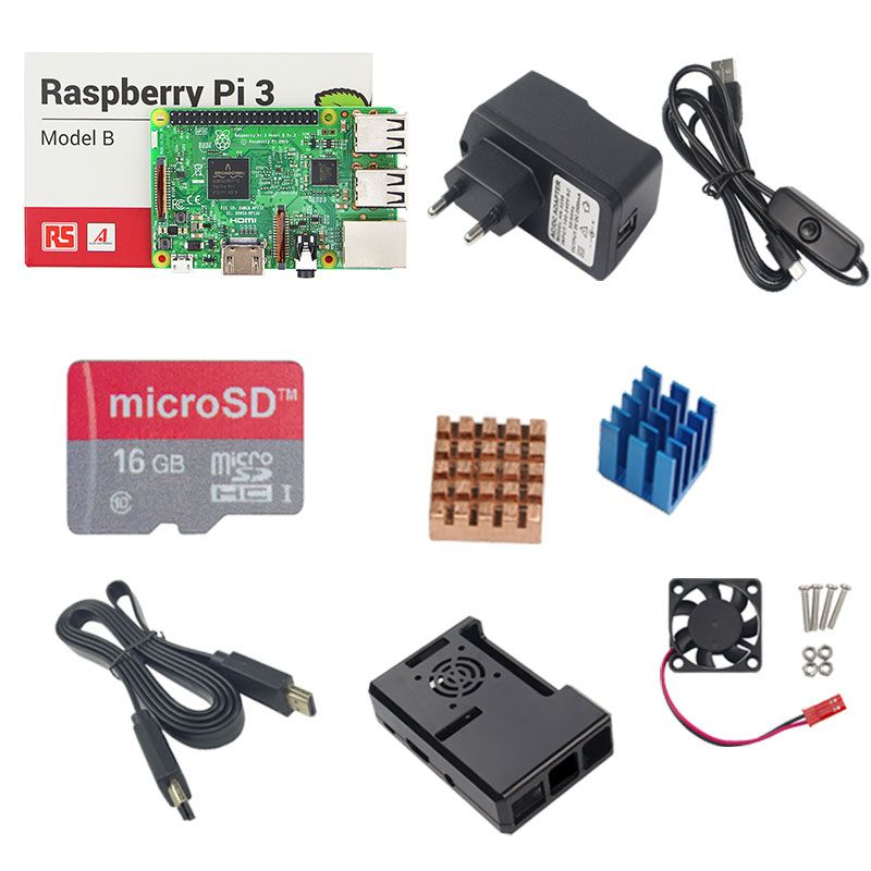 Raspberry Pi 3 Model B + 16G TF SD Card+5V 2.5A Power Adapter with Switch Cable + Pi 3 ABS Case + Heat Sink + 1.5M HDMI Cable