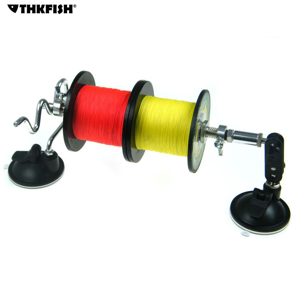 Tragbare Angelschnur Spool Spoolersystem 2 Doppel Bein Saugnapf Stabile Aluminium Angelrolle Line Winder Wickelmaschine