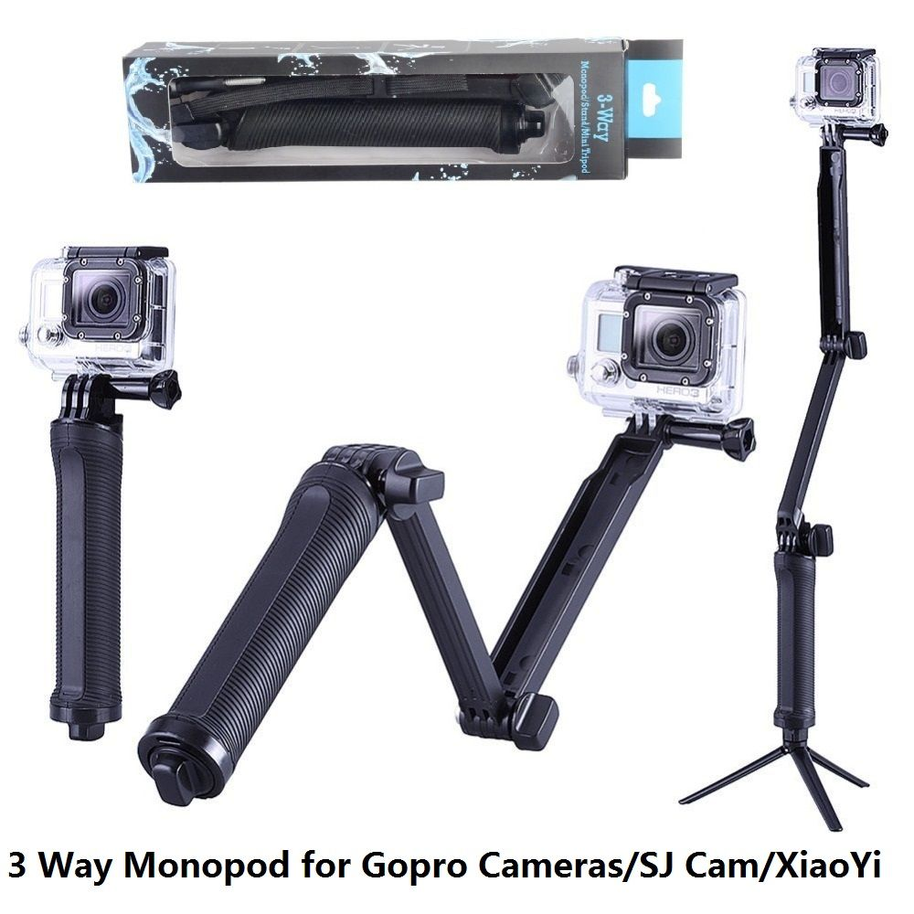 GoPro Monopod Collapsible 3 Way Monopod Mount Camera Grip Extension Arm Tripod Stand for Gopro Hero 6 5 4 3 3+ 2 1 SJ4000