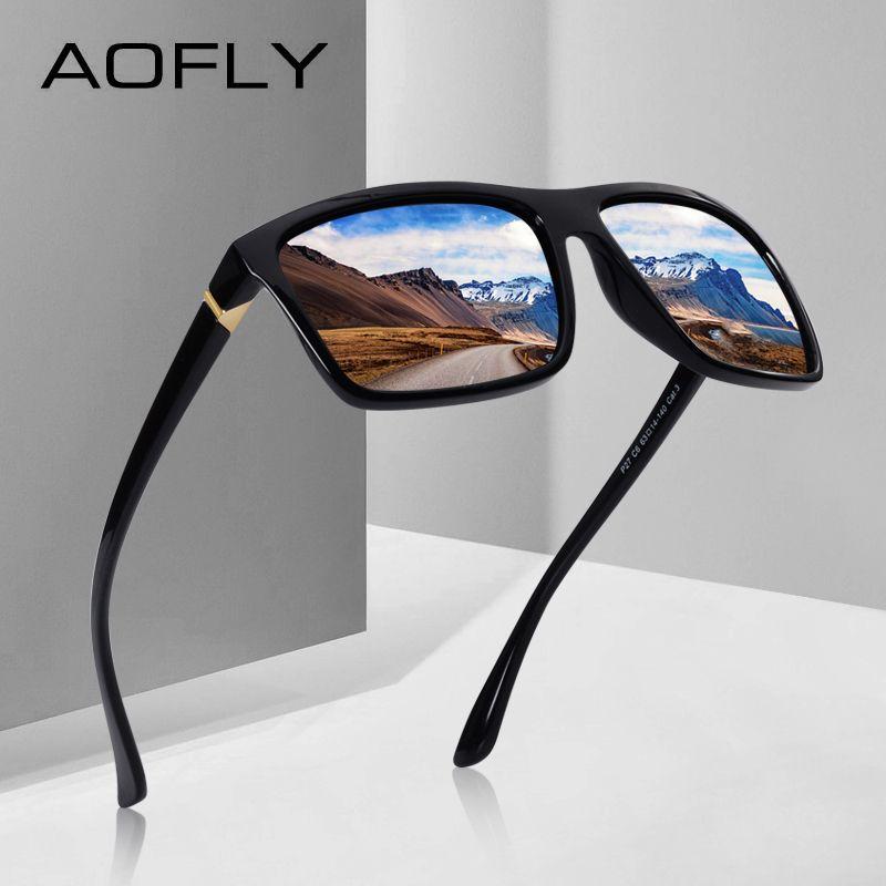 AOFLY MARKE DESIGN Polarisierte Sonnenbrille Männer Quadratischen Rahmen Sonnenbrille Für Frauen Vintage Retro Brille Brillen Gafas UV400 AF8066