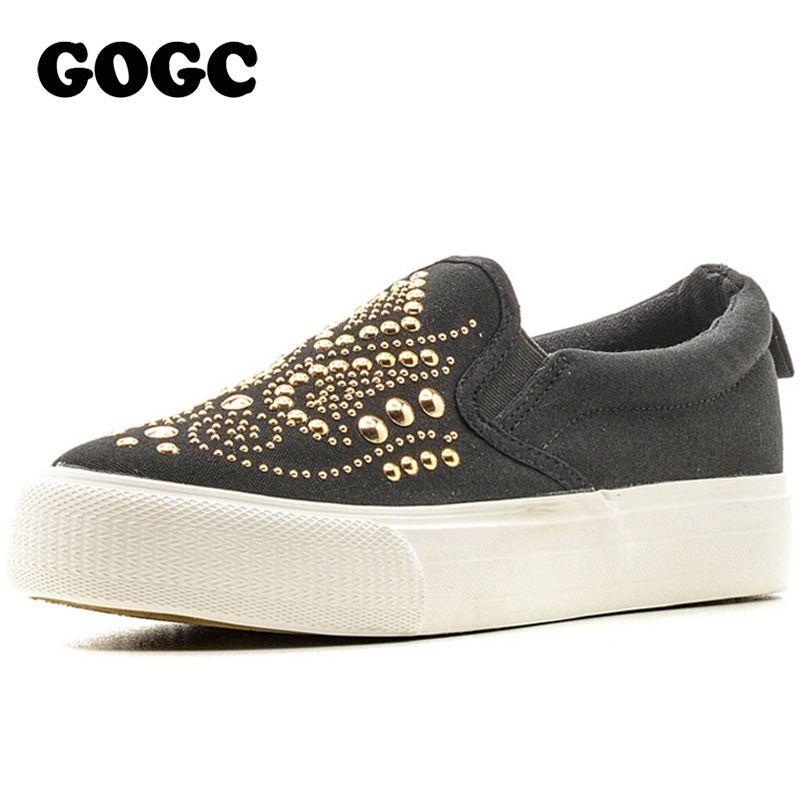 GOGC 2017 Tachonado Zapatos de Las Mujeres Espárrago Zapatos de Lona Zapatos de Las Mujeres Causales Cómodo Slip on Zapatos de Los Planos de Las Mujeres de Fondo Grueso Slipony