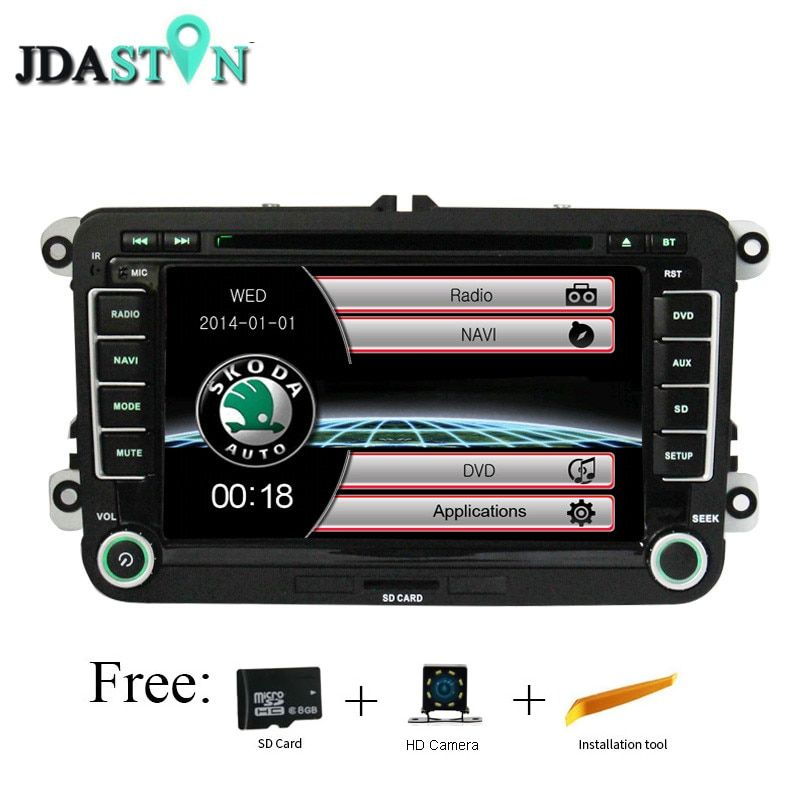 Jaston 2 Din Autoradio Für Skoda Sitz Volkswagen VW Passat B6 Polo Golf Touran Sharan Jetta Caddy T5 Tiguan sitz Audio GPS Nav