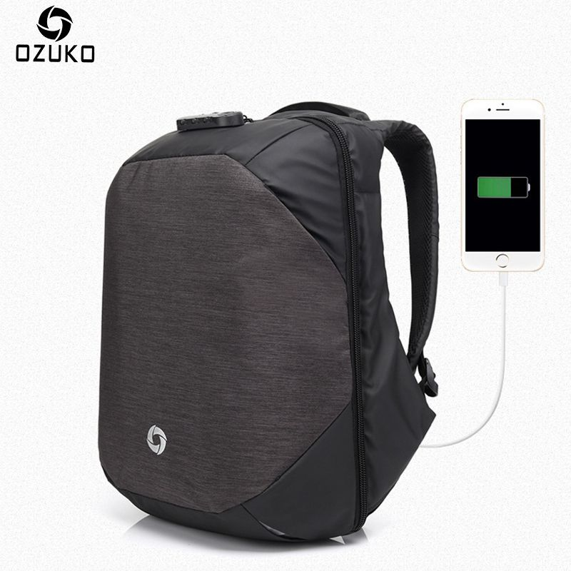 Ozuko Men Backpacks USB <font><b>Charge</b></font> Computer Backpack Password Lock 15.6Inch Laptop Bags Casual Three-dimensional Anti-theft Backpack