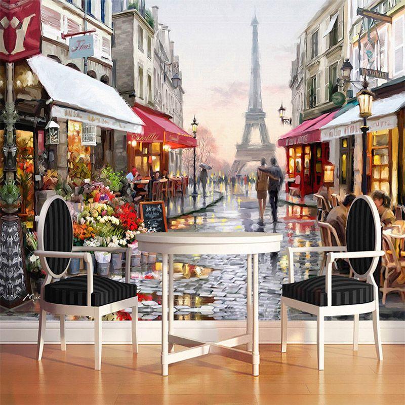 Европейский Стиль улица картина маслом 3d фото настенной Бумага кафе ресторан подкладке Мода Декор стен Бумага Papel де Parede 3D
