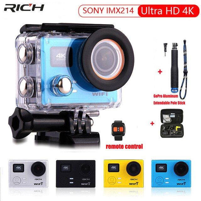 Action Camera Ultra HD 4K 1080p 60fps 12MP Remote control WiFi IMX214 Built-in Gyro 170 d wide angle Extreme Sports camera