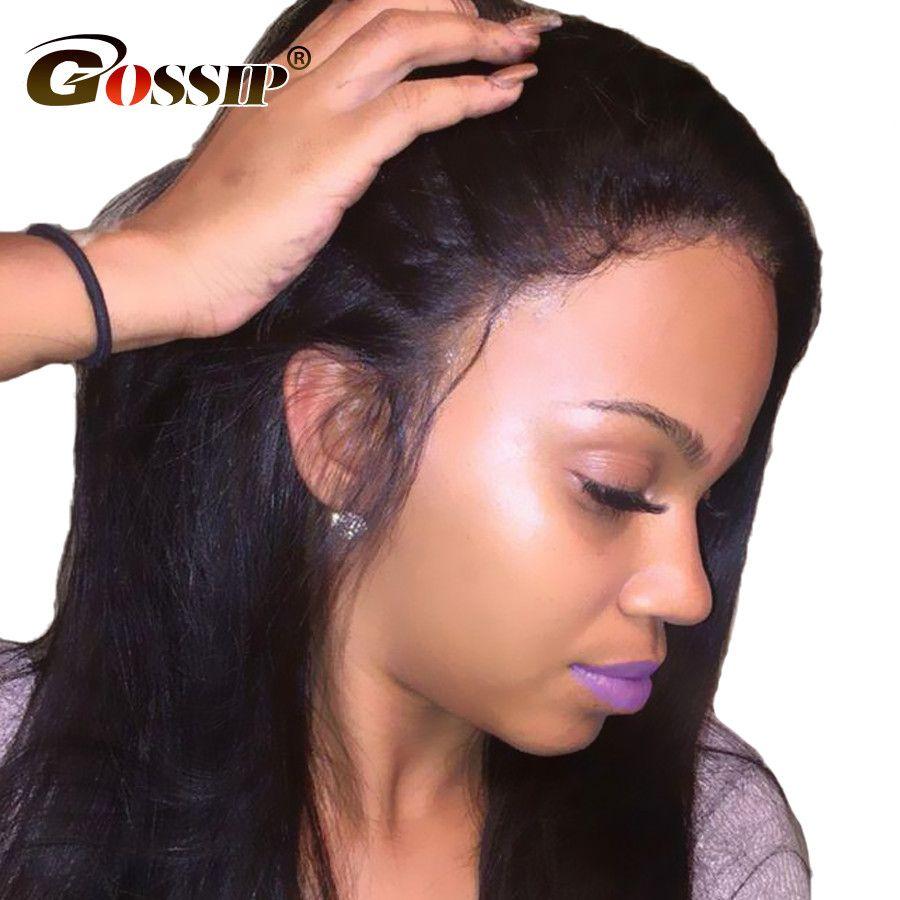 Avant de lacet Perruques de Cheveux Humains Avec Bébé Cheveux Péruvien fermeture de Dentelle Droite avant Perruques Pour Femmes Noires Potins Dentelle Perruques Pour Les Femmes Non Remy