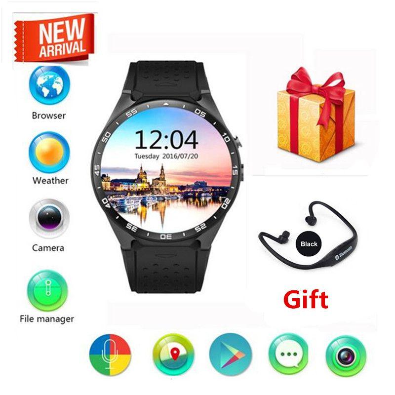 KingWear KW88 Android 5.1 Écran Amoled 3G Smartwatch Téléphone MTK6580 Quad Core 512 MB RAM 4 GB ROM GPS Capteur de Gravité PK x5 k18 d5