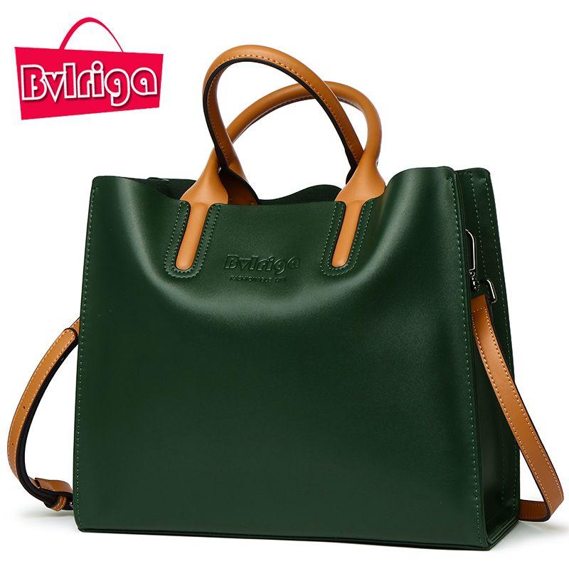 BVLRIGA Genuine leather bag famous brands women messenger bags women handbags designer high quality women bag shoulder bag tote